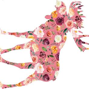 90 Degree Fat Quarter Pink Moose Silhouette Floral
