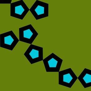 Tumbling Blocks - green and turquoise