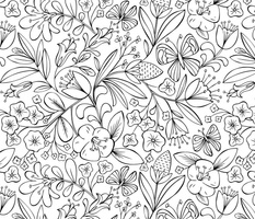 Enchanted Garden Coloring Book Floral - Black and White