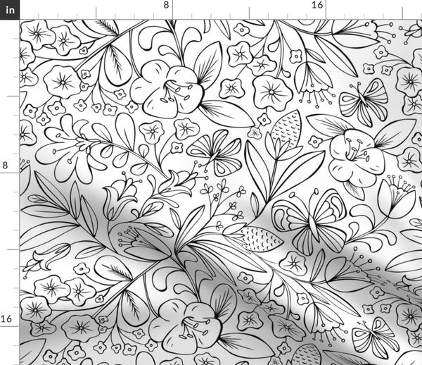 - Enchanted Garden Coloring Book Floral - - Spoonflower