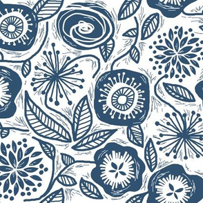 Linocut Leaves and Petals - Navy