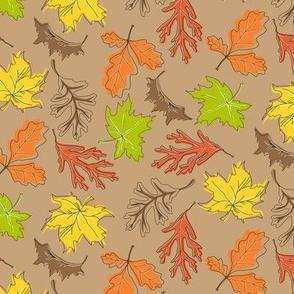 Fall Leaf Mini Toss Brown