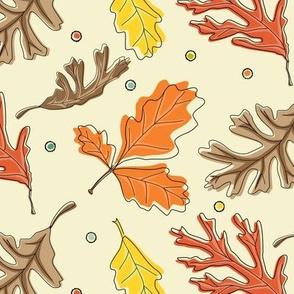 Fall Oak Leaf Toss with dots