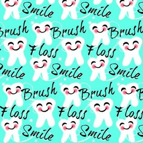 Brush Floss Smile / med-small Retro Aqua kawaii