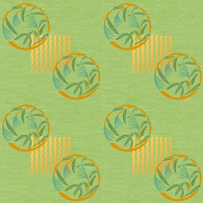 Bamboo grass on green linen weave by Su_G