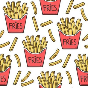 French Fries Fast Food Red on White