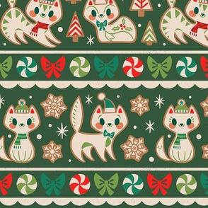 Gingerbread Kitties Stripe (Green)