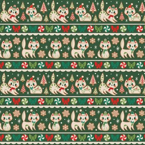 Small Gingerbread Kitties Stripe (Green)