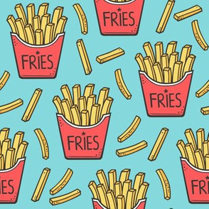 French Fries Fast Food Red on Blue