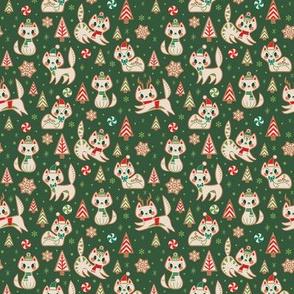 Small Gingerbread Kitties (Green)