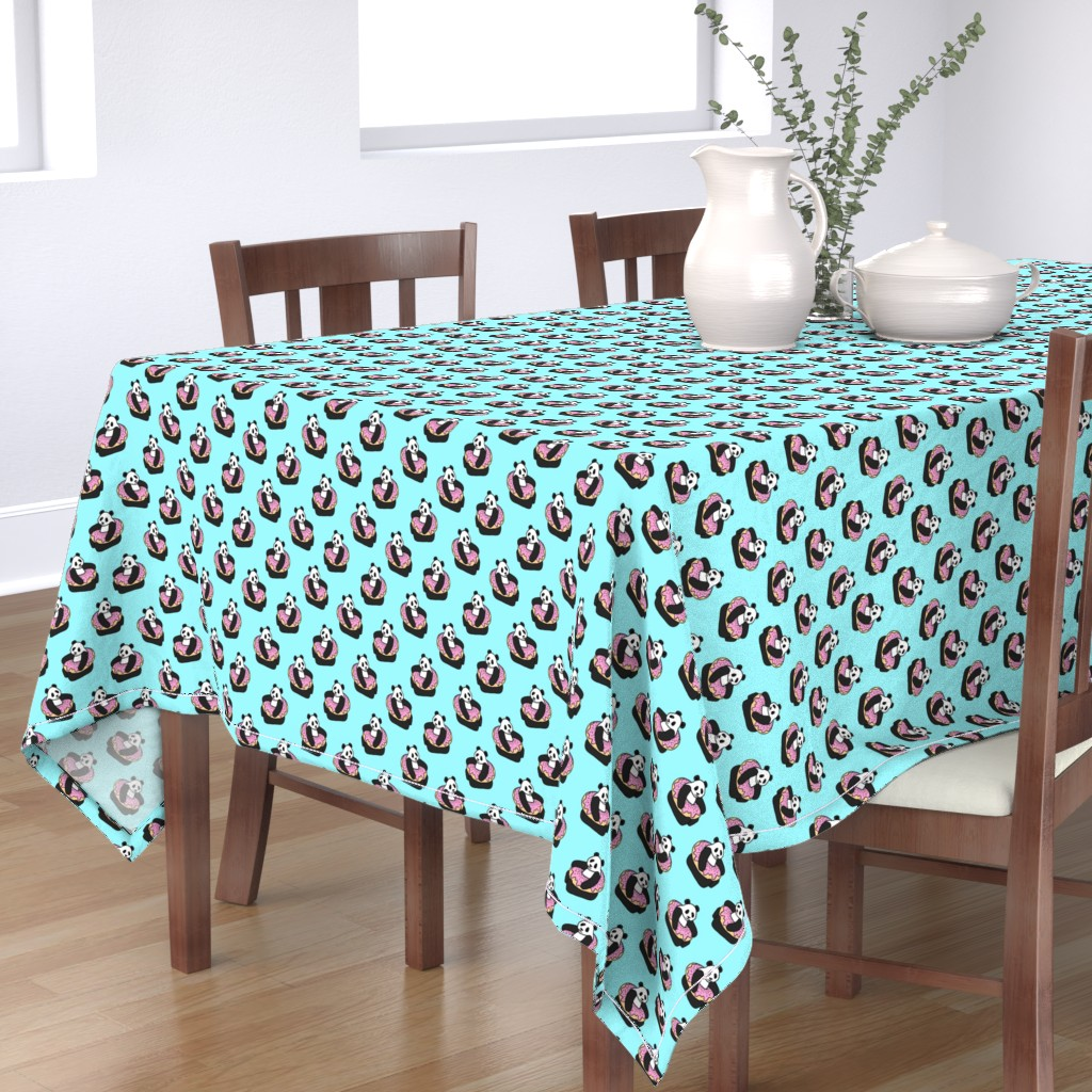 Bantam Rectangular Tablecloth featuring A Very Good Day - pandas & donuts on aqua by micklyn