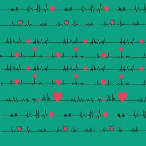 teal pink EKG ECG QRS