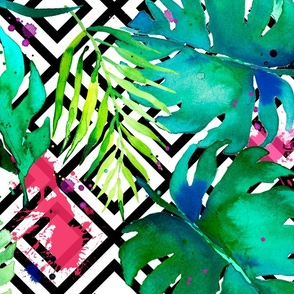 green tropical plants with geometric large