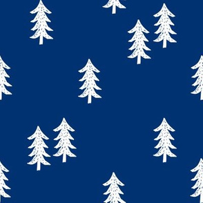 tree // minimal outdoors camping woodland nature forest basic nursery tree fabric navy