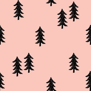 tree // minimal outdoors camping woodland nature forest basic nursery tree fabric pale pink