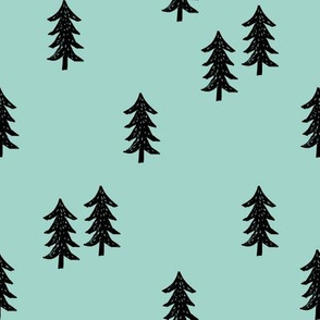 tree // minimal outdoors camping woodland nature forest basic nursery tree fabric pale turquoise