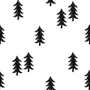 tree // minimal outdoors camping woodland nature forest basic nursery tree fabric black and white