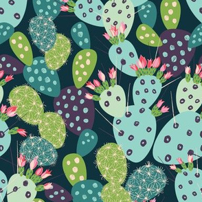 cactuses with inky texture