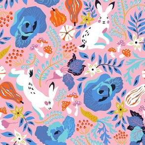 Autumn harvest and hares pattern in pink