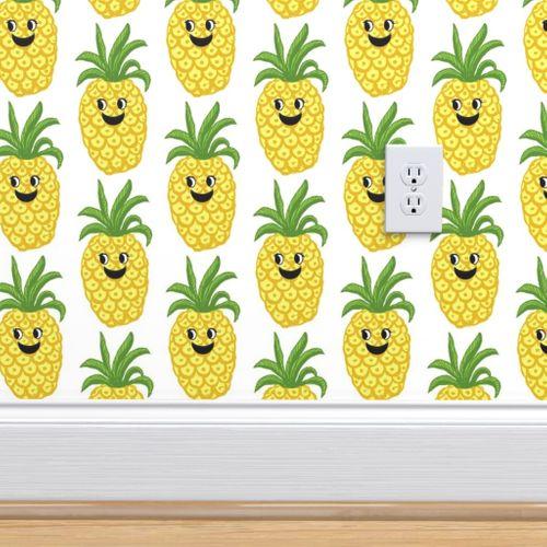 6939121 pineapple kawaii fruit cute kids greenery fruit by magentarosedesigns