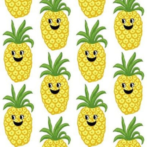 Pineapple // kawaii fruit //  cute //  kids// Greenery // Fruit