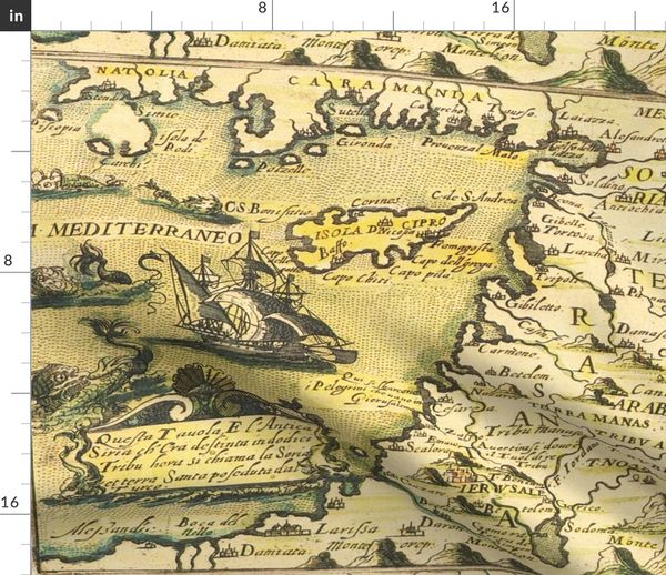 Fabric by the Yard 1598 Map of the Levant (27