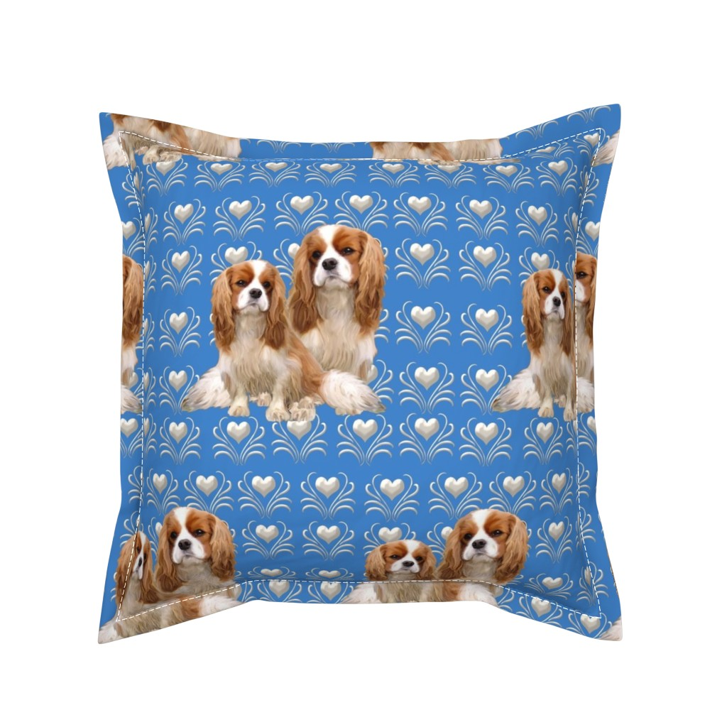 Serama Throw Pillow featuring Cavalier King Charles Spaniel Fabric by dogdaze_