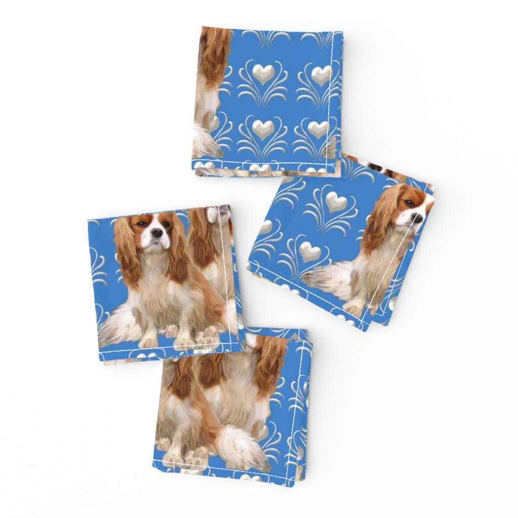 Frizzle Cocktail Napkins featuring Cavalier King Charles Spaniel Fabric by dogdaze_