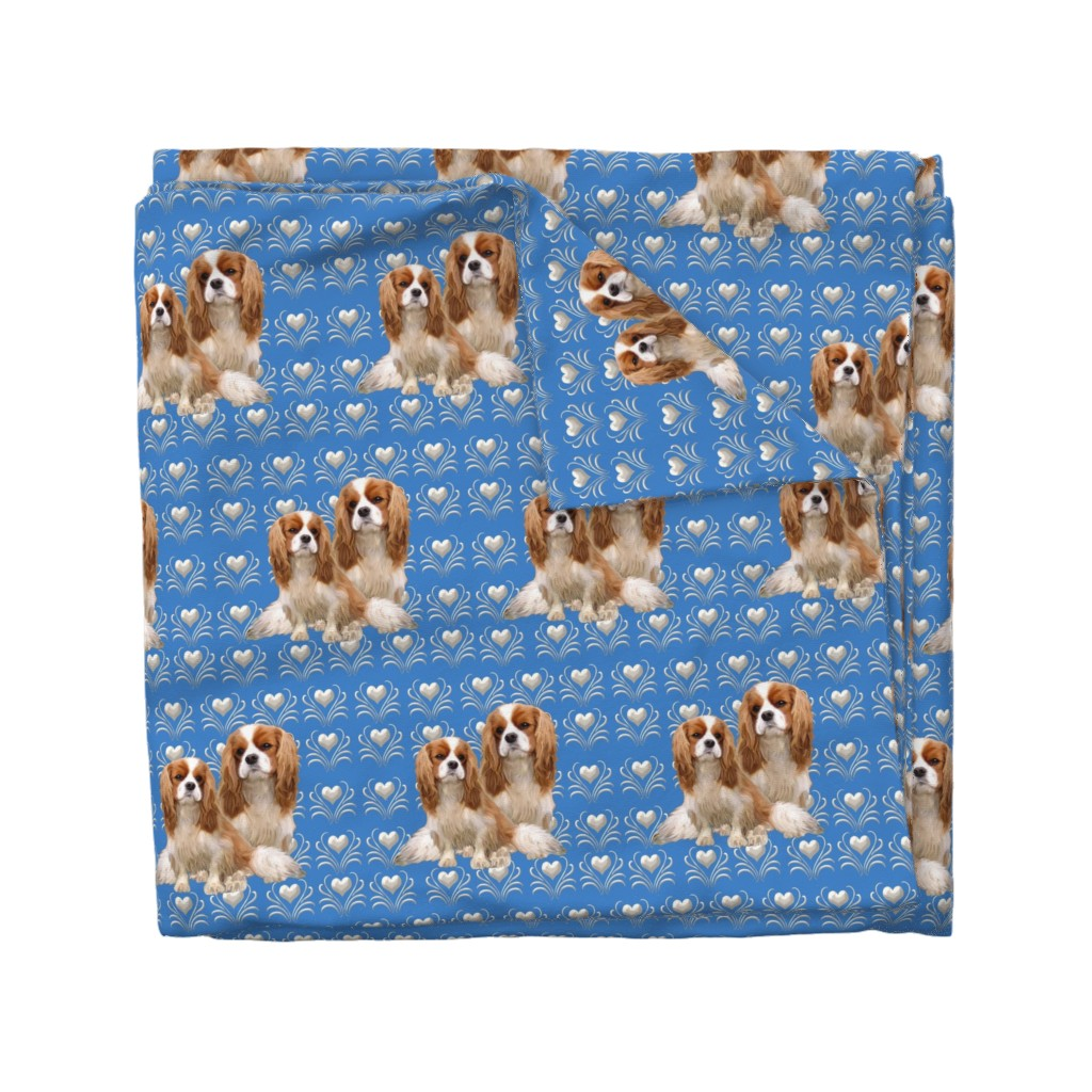 Wyandotte Duvet Cover featuring Cavalier King Charles Spaniel Fabric by dogdaze_