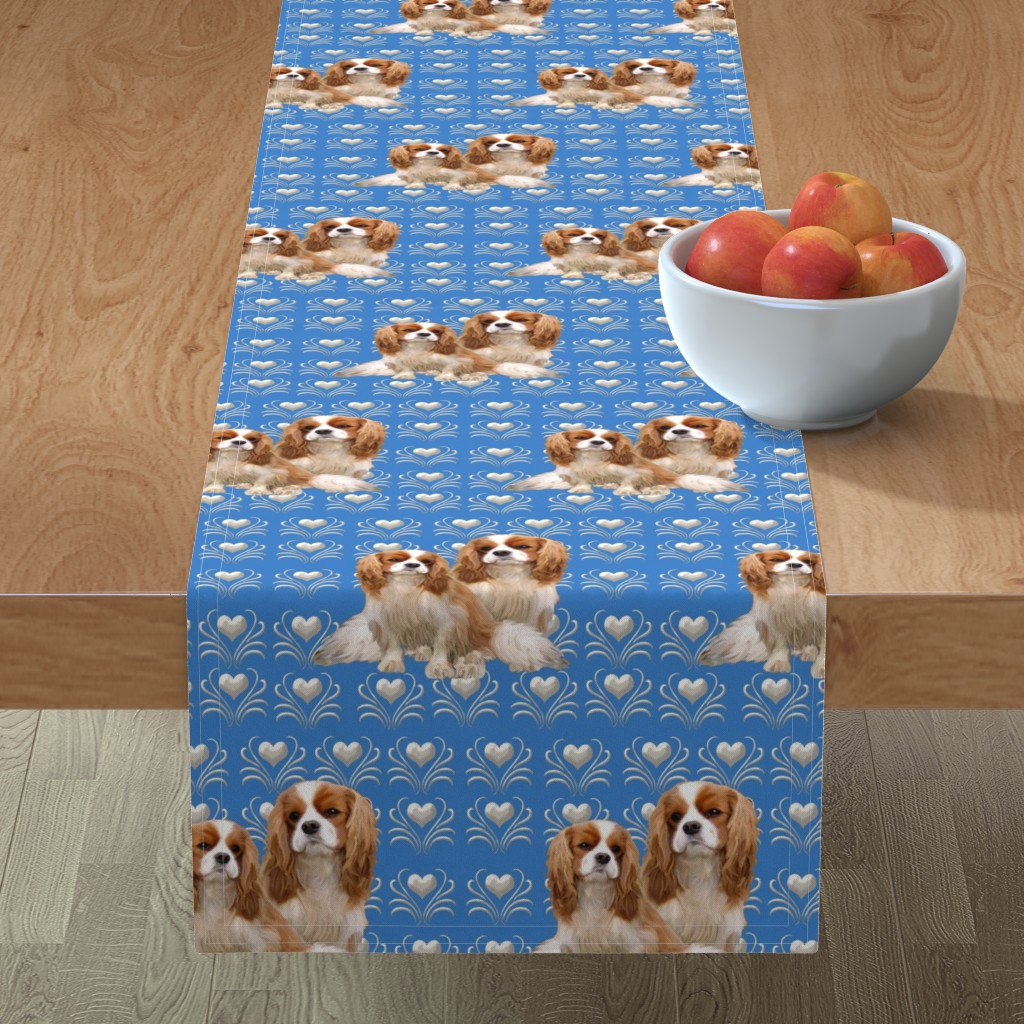Minorca Table Runner featuring Cavalier King Charles Spaniel Fabric by dogdaze_