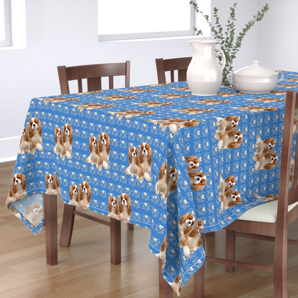 Bantam Rectangular Tablecloth featuring Cavalier King Charles Spaniel Fabric by dogdaze_