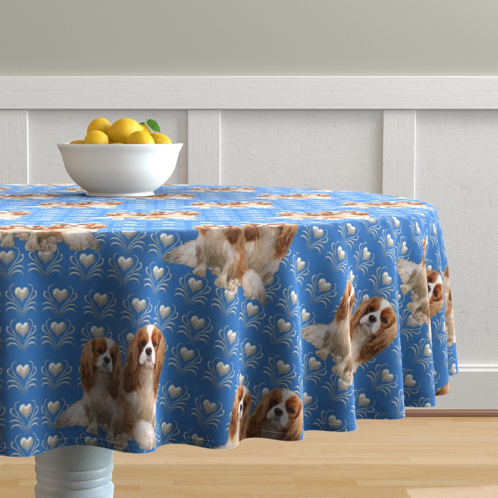 Malay Round Tablecloth featuring Cavalier King Charles Spaniel Fabric by dogdaze_