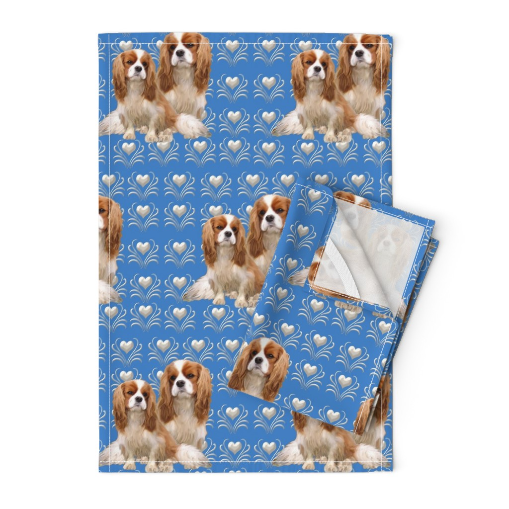 Orpington Tea Towels featuring Cavalier King Charles Spaniel Fabric by dogdaze_