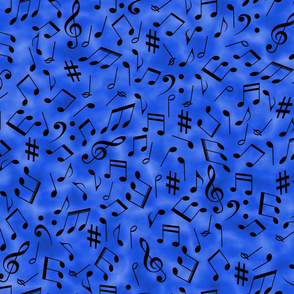 Scattered Music Notes on Blue