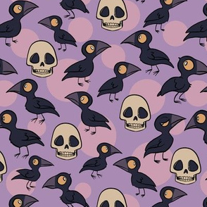 Ravens and Skulls with Full Moons on Purple