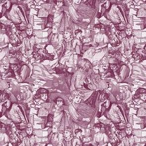 Victorian Books Toile Burgundy Fabric Design
