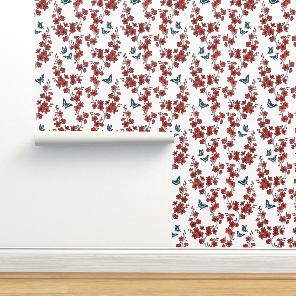 Isobar Durable Wallpaper featuring Sakura butterflies in red watercolor by adenaj