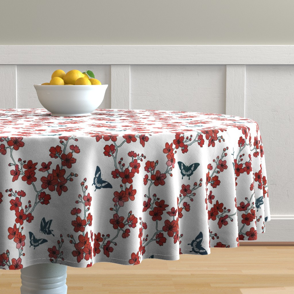 Malay Round Tablecloth featuring Sakura butterflies in red watercolor by adenaj