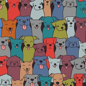 Fun dog pattern. Pet illustration. Happy animals. Pooch and hound design.