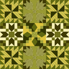 Traditional quilt in earthy greens