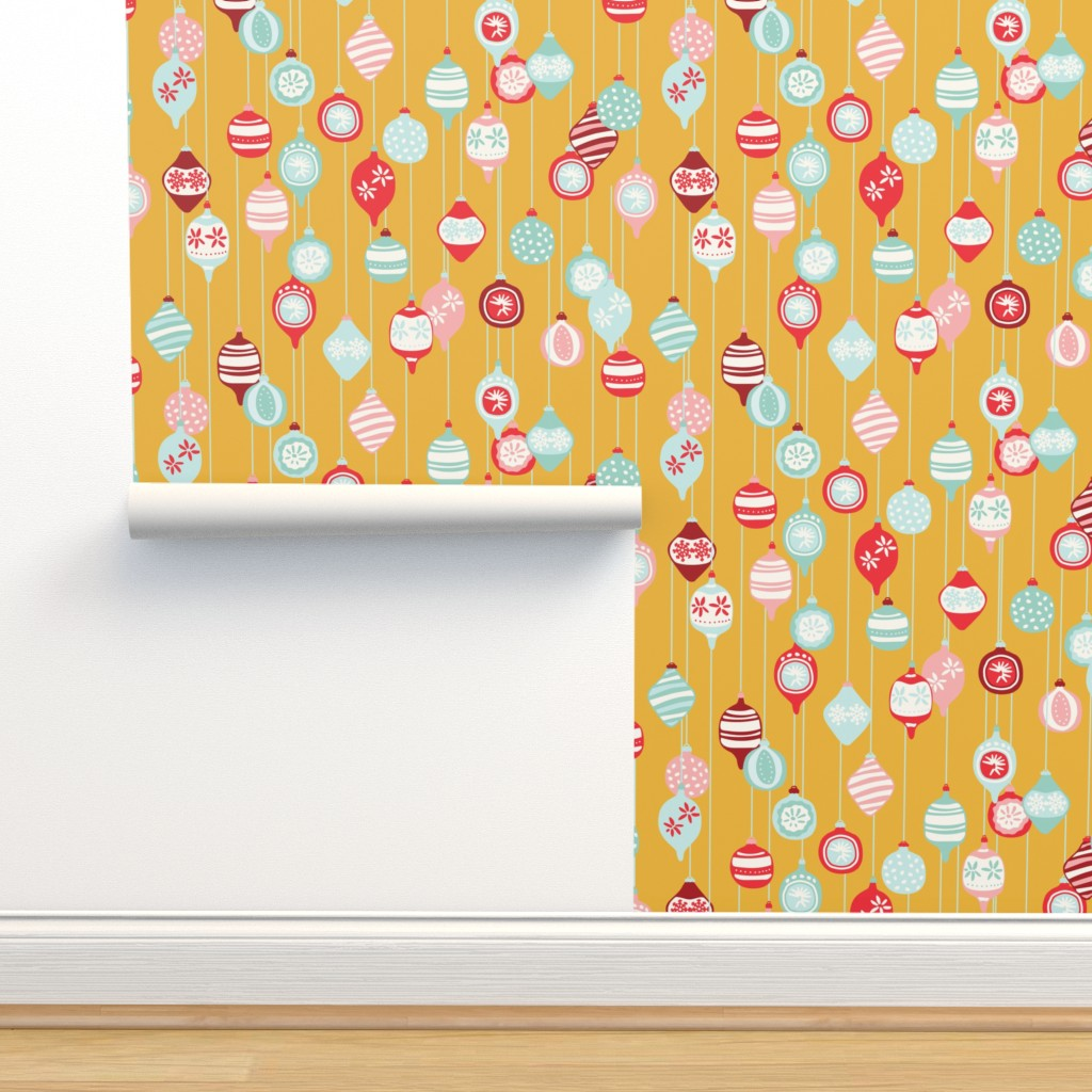 Isobar Durable Wallpaper featuring Vintage Christmas ornaments in yellow by lburleighdesigns