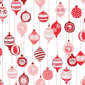 Vintage Christmas ornaments in red