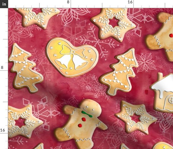 Christmas Cookies Wallpaper.Fabric By The Yard