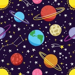 Space planets galaxy fabric