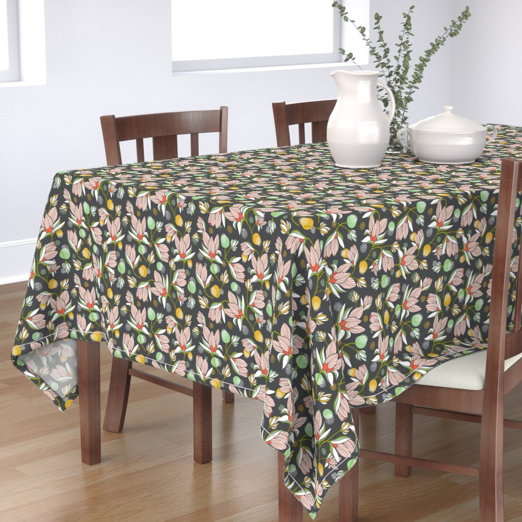 Bantam Rectangular Tablecloth featuring Magnolia Blossom - Floral Charcoal  by heatherdutton