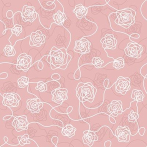 Line roses_white on pink