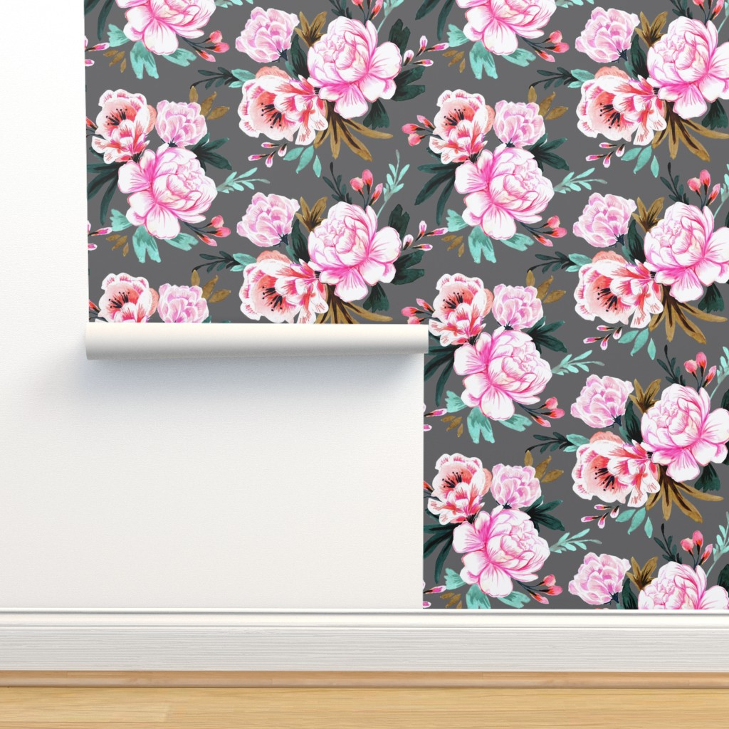 Isobar Durable Wallpaper featuring lush floral dark by crystal_walen