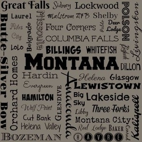 Montana cities, taupe