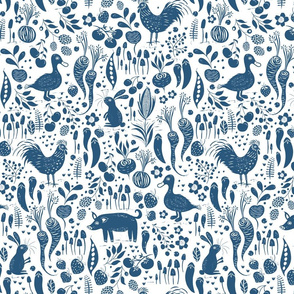 Farm Animals, fruit and Veg - White and Blue