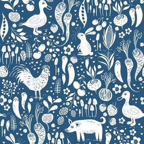 Farm Animals, Fruit and Vegetables Blue and White